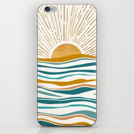The Sun and The Sea - Gold and Teal iPhone Skin