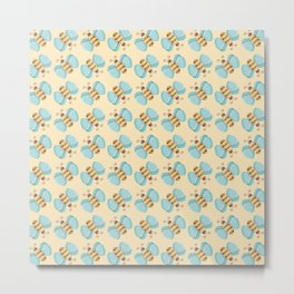 Cute Bumblebees Pattern over Yellow Background Metal Print
