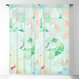 Turquoise Flowers 07 Blackout Curtain
