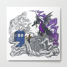 Dragon telephone box Metal Print