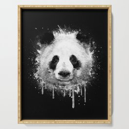 Cool Abstract Graffiti Watercolor Panda Portrait in Black & White  Serving Tray