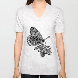 Tangled Butterfly on White Unisex V-Neck