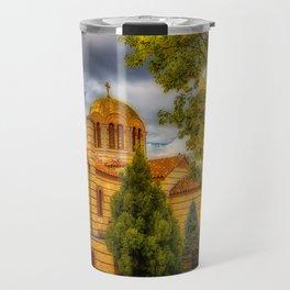 Autumn at Holy Cross Greek Travel Mug