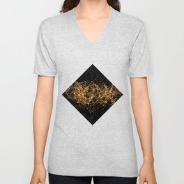 Shiny golden dots connected lines on black Unisex V-Neck