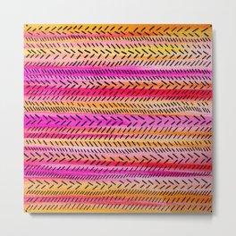 FUNKY RHYTHM 2 - Beautiful Fun Collaboration w Sreetama Ray, Pretty Feminine Pink Orange Pattern Metal Print