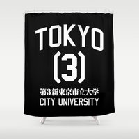 evangelion Shower Curtains featuring TOKYO-3 CITY UNIVERSITY by paragraph