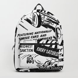 Midget Auto Races, Race poster, vintage poster, bw Backpack