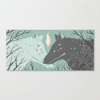 wolves Canvas Prints featuring Wolves by Kelsey King Illustration