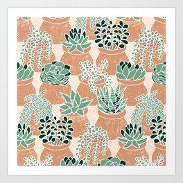 Succulent's Tiny Pots Art Print