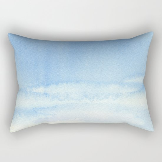 Sky and Grass Landscape Watercolor Rectangular Pillow