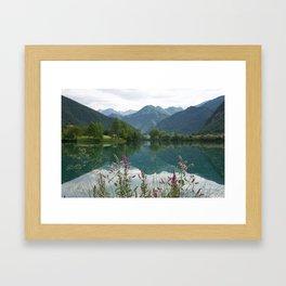 Mountain reflection  on lake Framed Art Print