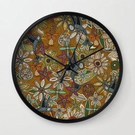 nectar bird garden gold Wall Clock