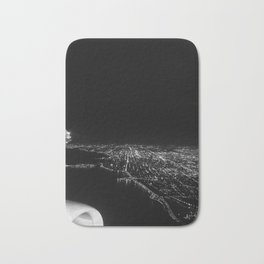 Chicago Skyline. Airplane. View From Plane. Chicago Nighttime. City Skyline. Jodilynpaintings Bath Mat