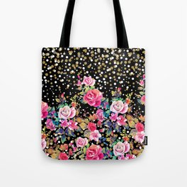 Modern watercolor spring floral and gold dots pattern Tote Bag