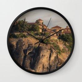Sunny morning in Meteora Wall Clock