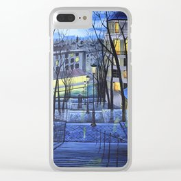 Rainy evening in Amsterdam Clear iPhone Case