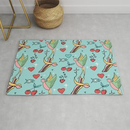 Rockabilly Swallow Pastel Rug