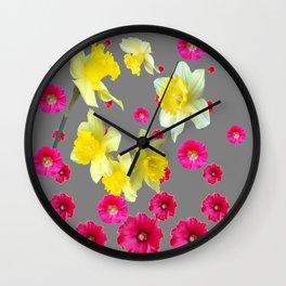 FUCHSIA FLOWERS & YELLOW DAFFODILS DESIGN Wall Clock