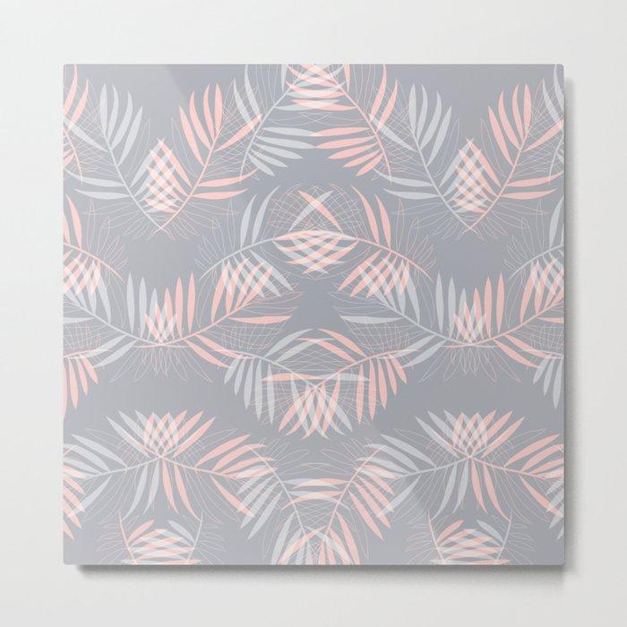 Palm leaves lace pattern on grey Metal Print
