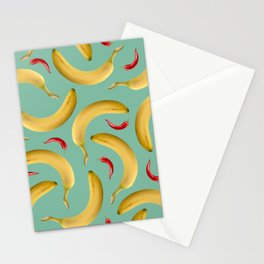 Bananas Chillies pattern Food Design Stationery Cards