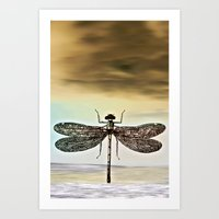 dragonfly Art Prints featuring DRAGONFLY  by Pia Schneider [atelier COLOUR-VISION]