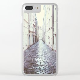 Cobblestone Street in Prague Clear iPhone Case