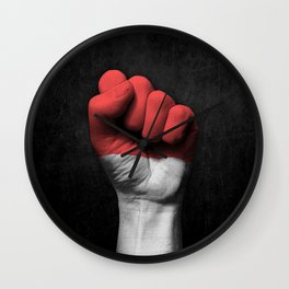 Indonesian Flag on a Raised Clenched Fist Wall Clock