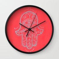 hamsa Wall Clocks featuring Hamsa by Grace Anderson