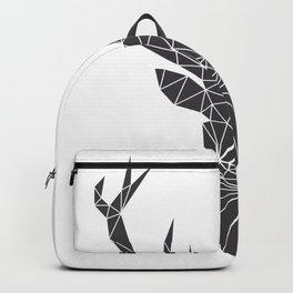 Grey Deer Head Illustration Backpack