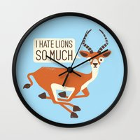 thrones Wall Clocks featuring Prey Tell by David Olenick