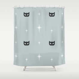 Mid Century Cats and Starburst Pattern Shower Curtain
