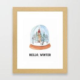 snow globe hello, winter Framed Art Print