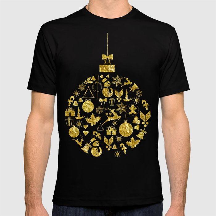 Golden Shimmering Christmas Ornament Bauble T-shirt
