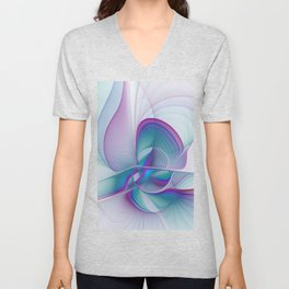 Colorful Beauty, Abstract Fractal Art Unisex V-Neck