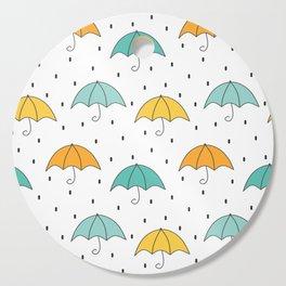 cute cartoon autumn pattern with umbrellas and rain Cutting Board