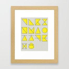 'ㄱ,ㄴ,ㄷ,ㄹ' (Korean Alphabet-Yellow) Framed Art Print