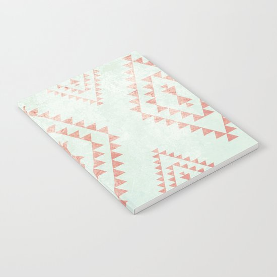 mint & coral tribal pattern Notebook