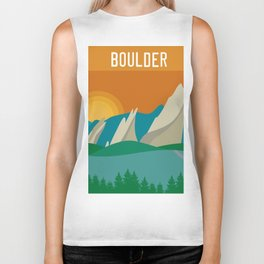 Boulder, Colorado - Skyline Illustration by Loose Petals Biker Tank