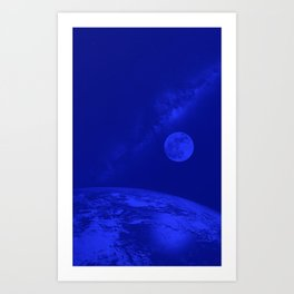 Earth, Moon and Milkyway in parlament blue by Adam Asar Art Print