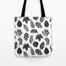 Linocut leaves fall autumn lino printmaking black and white decor art print trendy leaf pattern Tote Bag