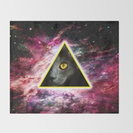 Illuminati Universe Cat  Throw Blanket