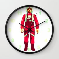 pilot Wall Clocks featuring pilot by BzPortraits