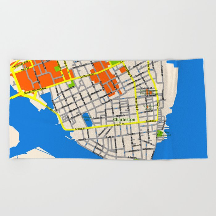 Map of Charleston, SC Beach Towel Charleston Sc Beaches Map on