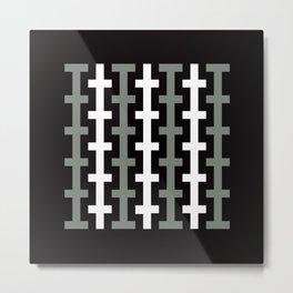 Geometric Pattern 113 (gray lines stripes) Metal Print
