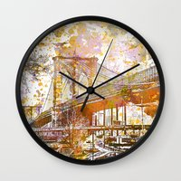 brooklyn bridge Wall Clocks featuring Brooklyn Bridge by LebensART