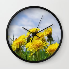 #summer #yellow #Dandelion #meadow Wall Clock