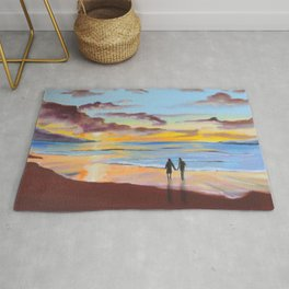 Romantic painting, couple at the beach Rug