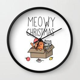 Meow Christmas Wall Clock