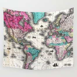Vintage Map of The World (1852) - Stylized Wall Tapestry