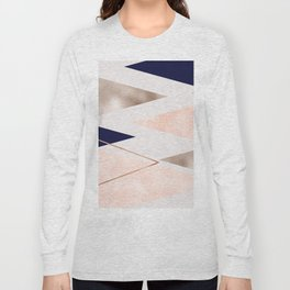 Rose gold french navy geometric Long Sleeve T-shirt